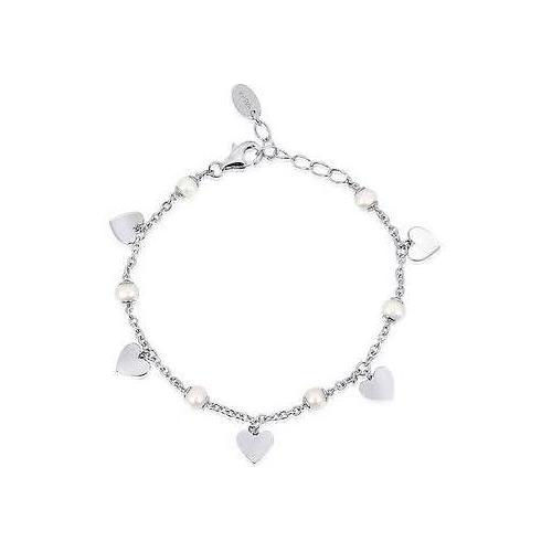 Bracciale argento cuori e perle coltivate 533158 - Mabina