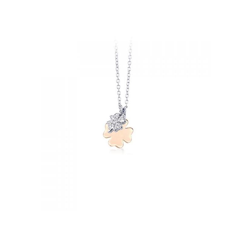 Girocollo quadrifoglio rosato 925°°° con quadrifoglio zirconi 553155- Mabina