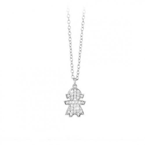 Girocollo in argento 925°°° bimba con zirconi - Mabina 553072