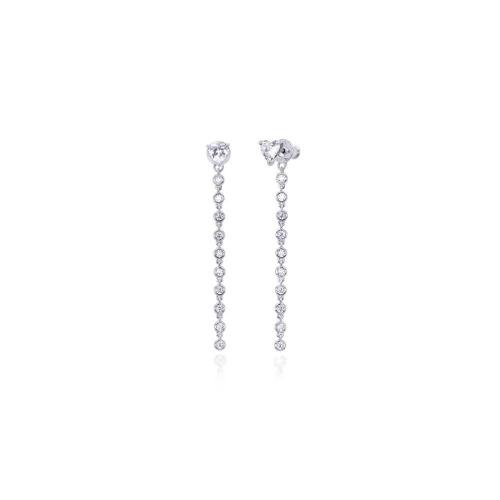 Orecchini pendenti argento e zirconi 563134 - Mabina
