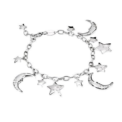 Bracciale acciaio e cristalli con charms Moon - 2Jewels