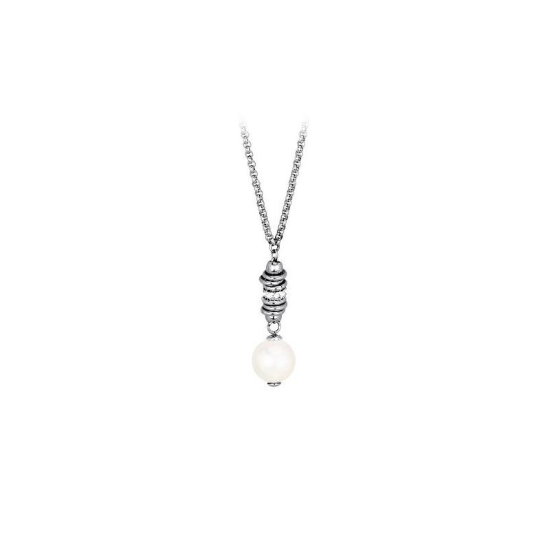Collana donna in acciaio serie pearl melody