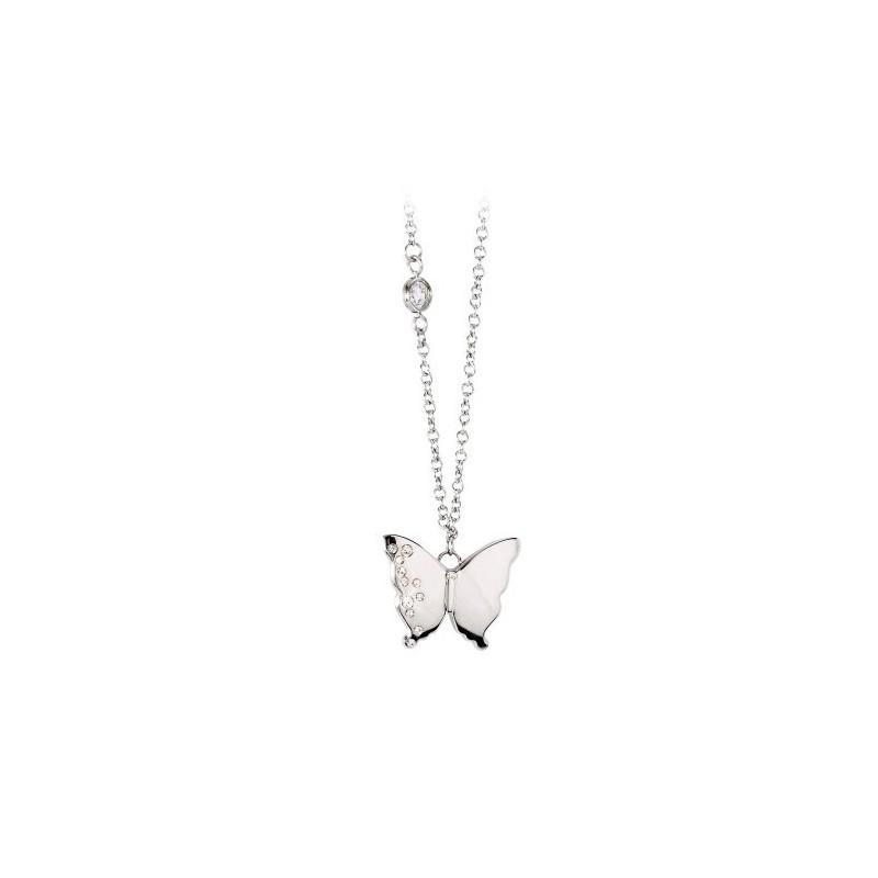 Collana donna in acciaio con pendente farfalla serie Diva