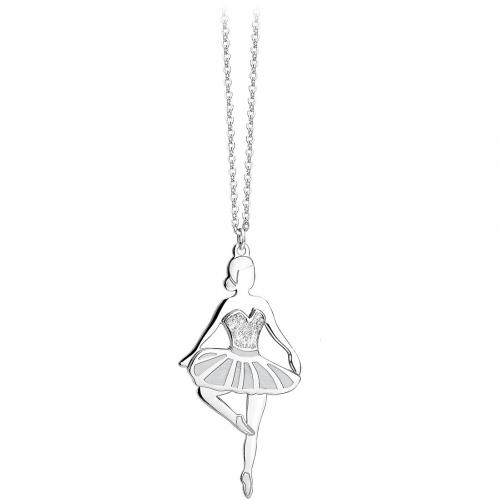 Collana acciaio e cristalli con ballerina - 2Jewels