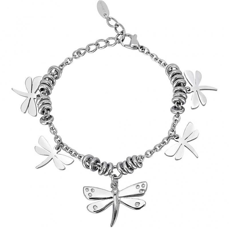 Bracciale donna in acciaio 316L e cristalli con pendenti a forma di farfalla - 2Jewels