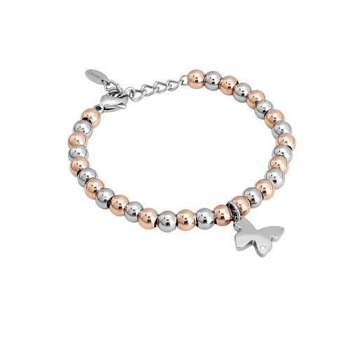 Bracciale acciaio e cristalli con farfalla Puppy - 2Jewels