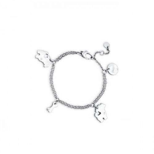 Bracciale acciaio e cristalli con charms Puppy - 2Jewels