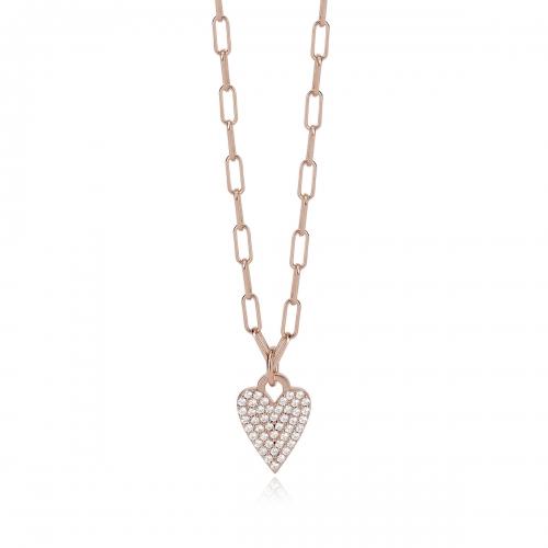 Catena cm 42 in argento con cuore e zirconi