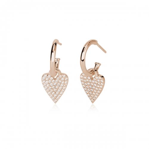 Orecchini in argento rosè con cuore e zirconi