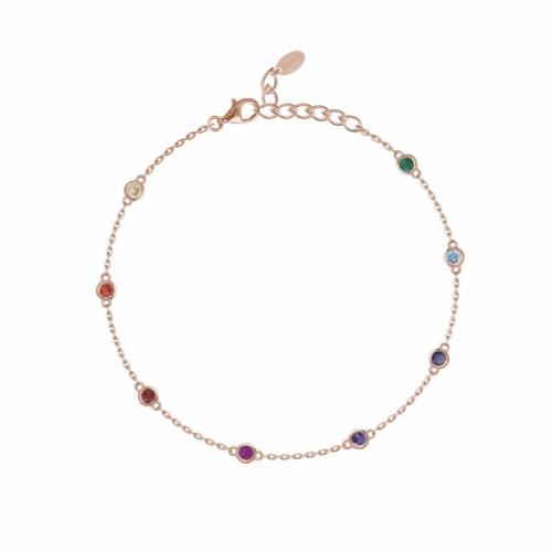 Bracciale in argento rosé con zirconi multicolor - Mabina Gioielli