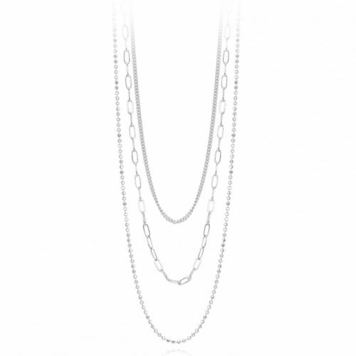 Tris di catene in gradazione argento (85 cm)