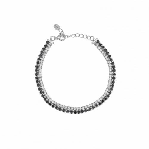 Bracciale doppio modello tennis in argento con zirconi neri e bianchi - Mabina Gioielli