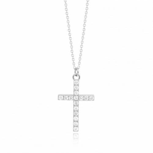 Catena in argento con pendente a croce e zirconi