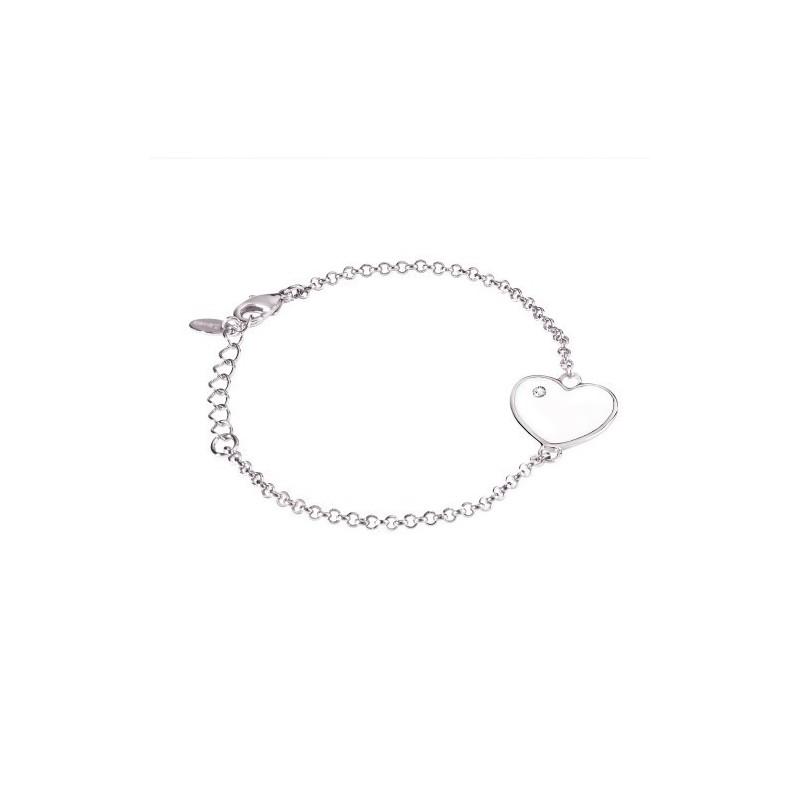 Bracciale donna in bronzo con cuore smaltanto bianco serie Simply Love