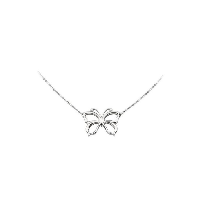 Collana donna in acciaio con farfalla centrale serie Emotion