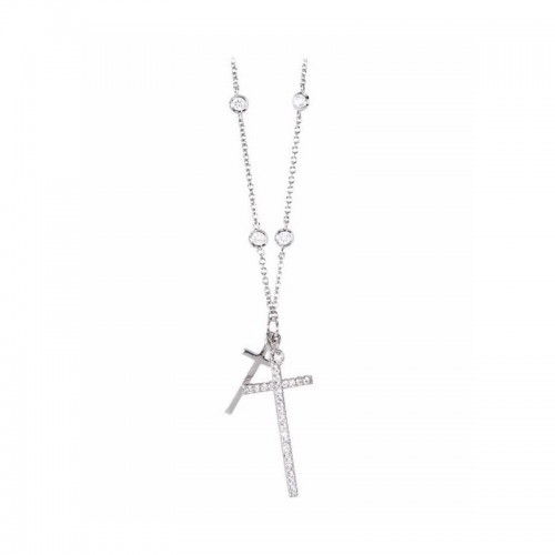 Collana donna in argento con zirconi bianchi serie Mistery