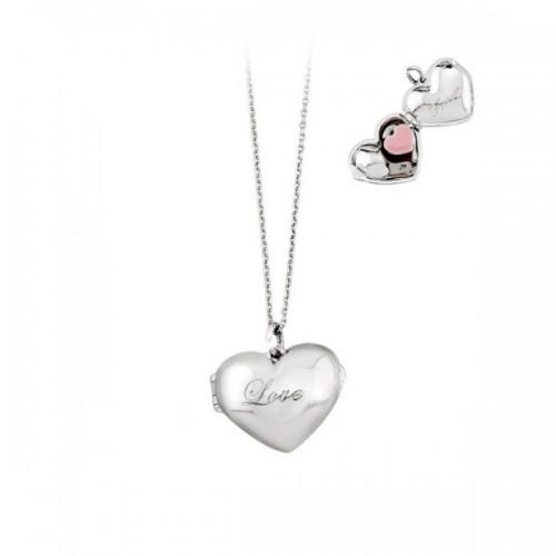 Collana donna in argento e smalto rosa serie Love Forever