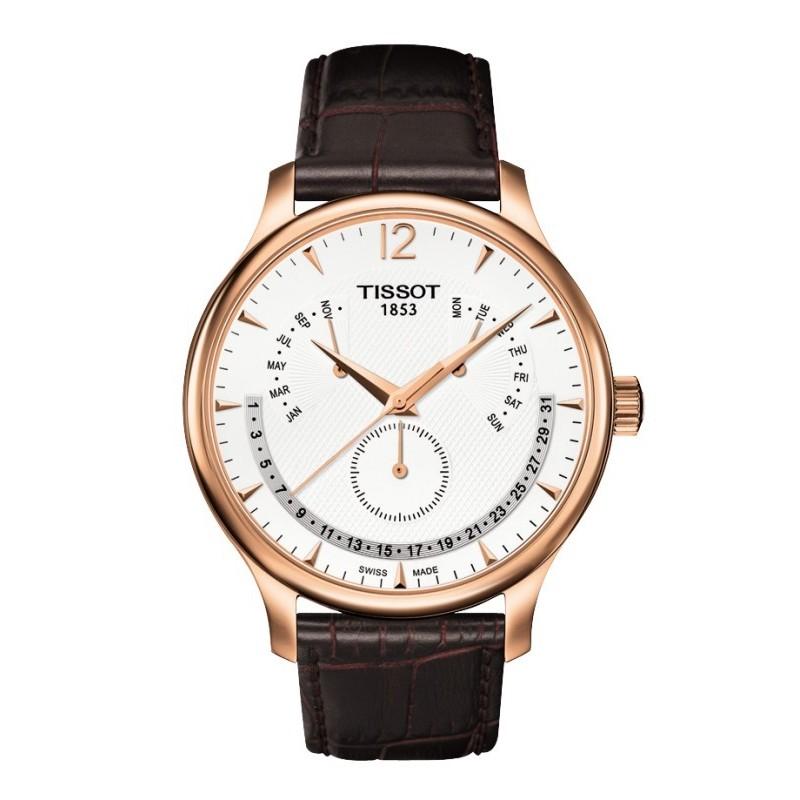in vendita f1bb3 7a591 Orologio da polso uomo Tissot Tradition Perpetual Calendar cinturino pelle