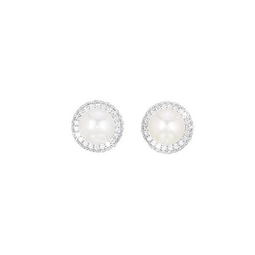 Orecchini argento zirconi e perle coltivate 563035 - Mabina