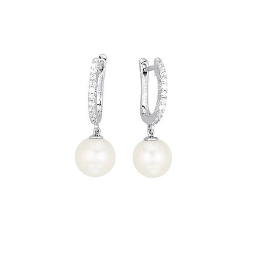 Orecchini argento zirconi e perle coltivate 563037 - Mabina
