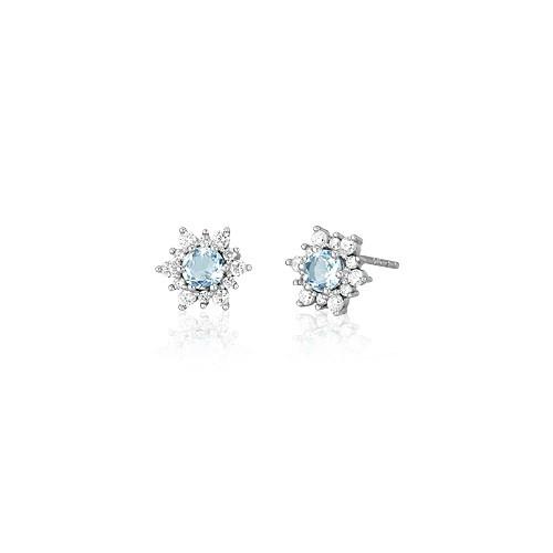 Orecchini argento zirconi e vetro acquamarina 563073 - Mabina