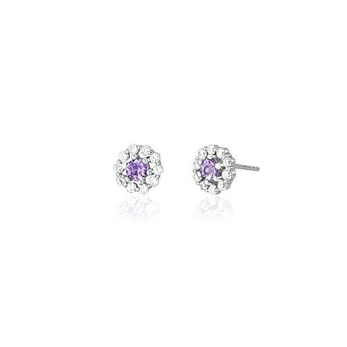 Orecchini argento zirconi e vetro ametista 563074 - Mabina