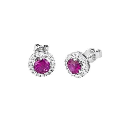 Orecchini argento zirconi e rubini sintetici 563053 - Mabina