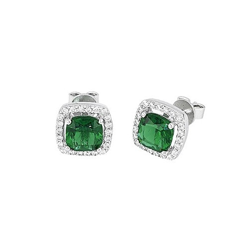 Orecchini argento zirconi e smeraldi sintetici 563054 - Mabina