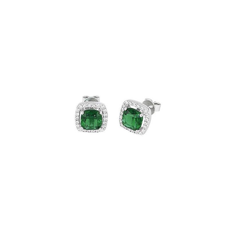 Orecchini Argento con Zirconi e smeraldi sintetici