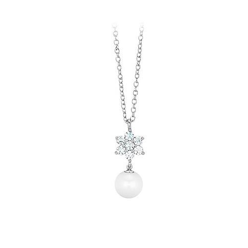 Girocollo argento zirconi e perla coltivata 553031 - Mabina