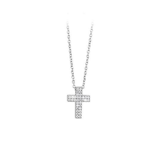 Girocollo argento e zirconi con croce 553015 - Mabina