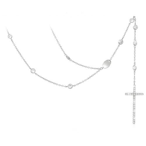 Girocollo argento e zirconi con croce 553049 - Mabina