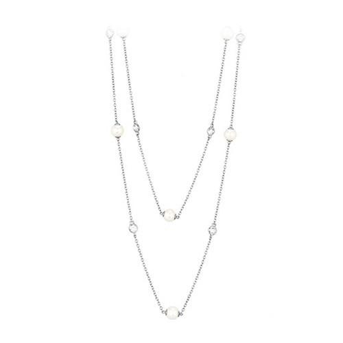 Girocollo argento zirconi e perle coltivate 553009 - Mabina