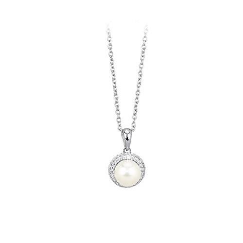 Girocollo argento zirconi e perla coltivata 553018 - Mabina