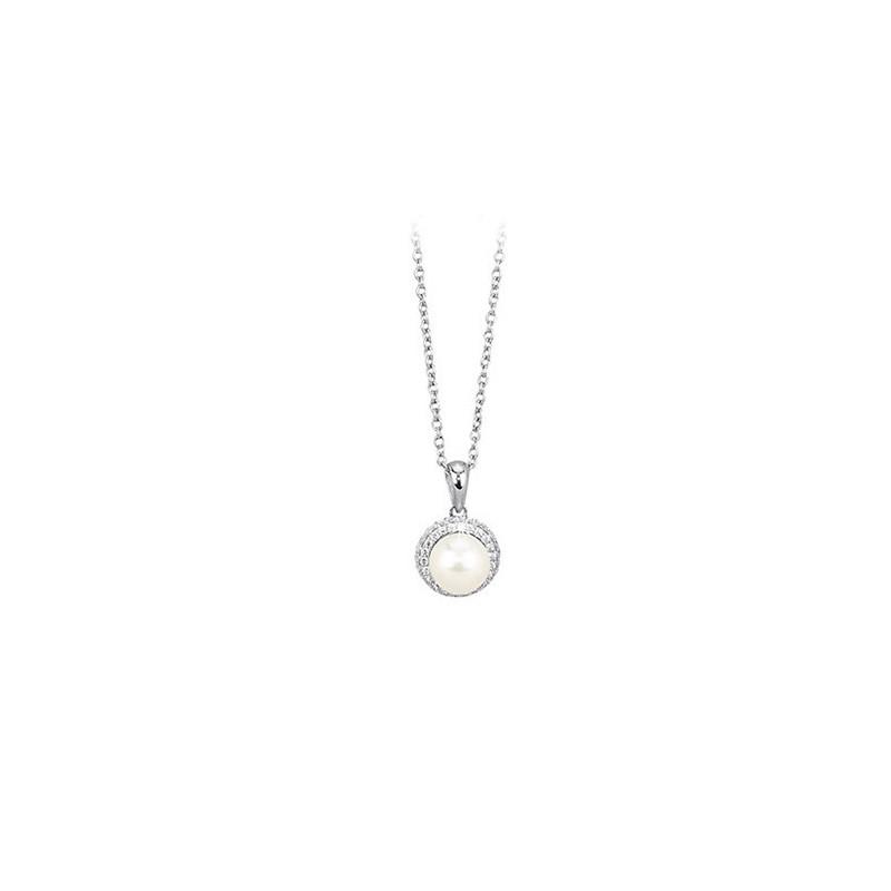 Girocollo Argento Zirconi e Perle coltivate