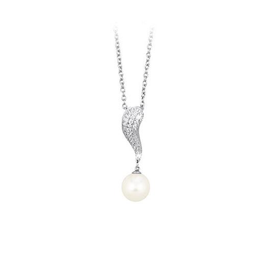 Girocollo argento zirconi e perla coltivata 553019 - Mabina
