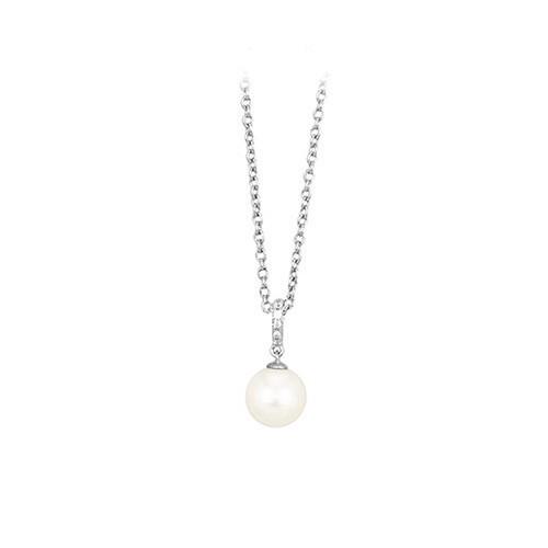 Girocollo argento zirconi e perla coltivata 553020 - Mabina