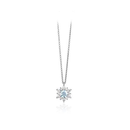 Girocollo argento zirconi e vetro acquamarina 553055 - Mabina