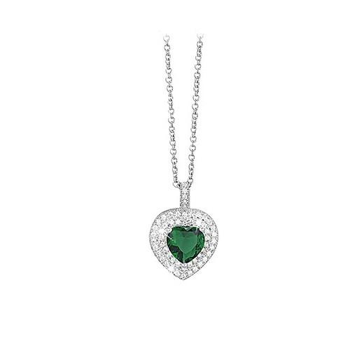 Girocollo argento zirconi e smeraldo sintetitco 553037 - Mabina