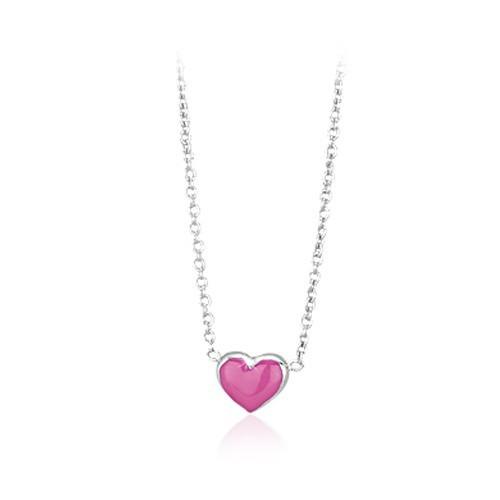 Girocollo argento e smalto rosa con cuore 553042 - Mabina