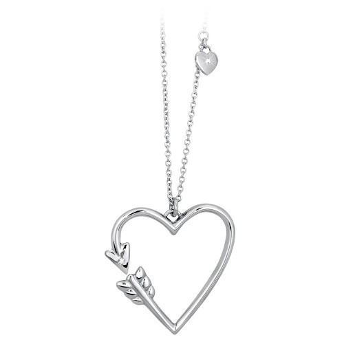 Pendente forma di cuore acciaio e cristallo - 2Jewels