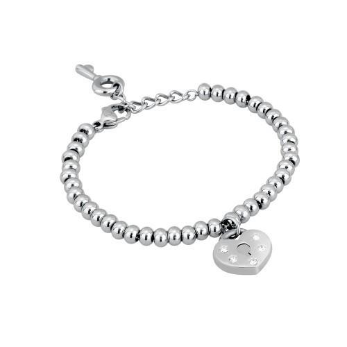 Bracciale acciaio e cristalli con cuore Secret -2Jewels