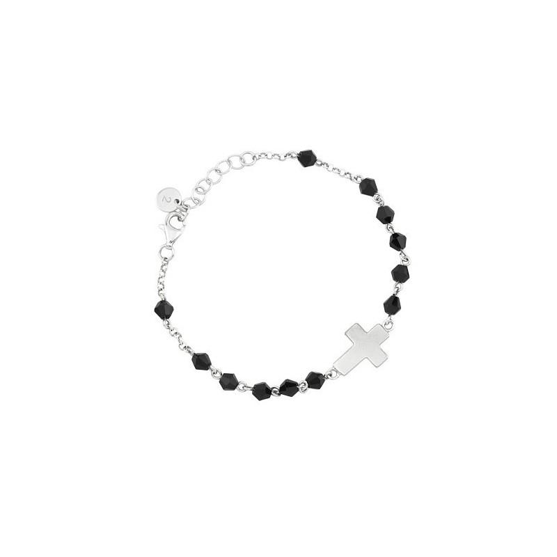 ottenere a buon mercato sconto più colori Bracciale acciaio e cristalli neri con croce Faith 2Jewels